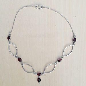 Vintage Sterling Garnet Necklace